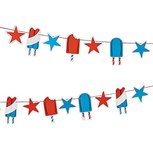 Patriotic Pop Garland - American Red White and Blue Banner for 4th of July, Memorial Day, Veterans Day and Parade Decorations (Set of 2)