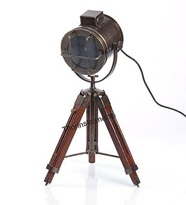 Thor Instruments.Co – Lámpara de mesa de diseño náutico, con trípode, bronce