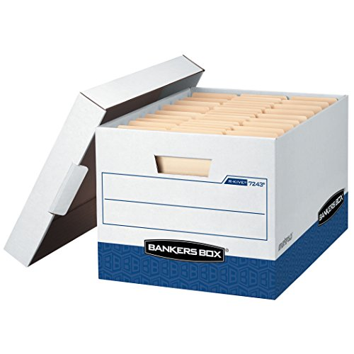 Bankers Box R-Kive Heavy-Duty Storage Boxes, FastFold, Lift-Off Lid, Letter/Legal, Case of 12 - Heavy Carry Case Duty