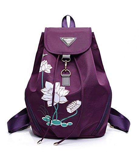 - Degohome Women's Nylon Waterproof Backpack Lotus Printed Casual School Travel Bag (violet)