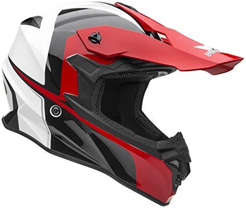 Vega Helmets VF1 Lightweight Dirt Bike Helmet – Off-Road Full Face Helmet for ATV Motocross MX Enduro Quad Sport, 5 Year Warranty (Red Stinger Graphic, Large) (Polaris Atv Helmet)
