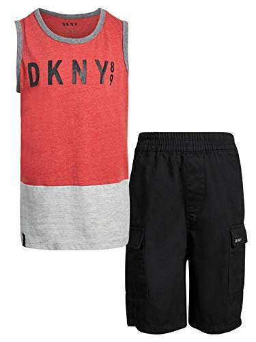Tan Short Set - DKNY Boys' 2-Piece Summer Tank Top and Cargo Short Set, Black, Size 3T'