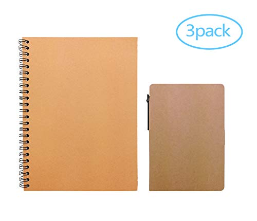 3 Packs Assorted Sizes Kraft Paper Notebook/Journal Sketchpa
