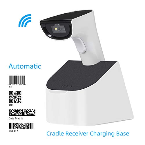 Koolertron Automatic Wireless 2D Barcode Scanner with USB Cradle Receiver Charging Base, Compatible with Bluetooth Function & 2.4G Wireless Auto Scan 1D 2D Bar Code QR PDF417 Data Matrix UPC (Logistics Keyboard Ipad)