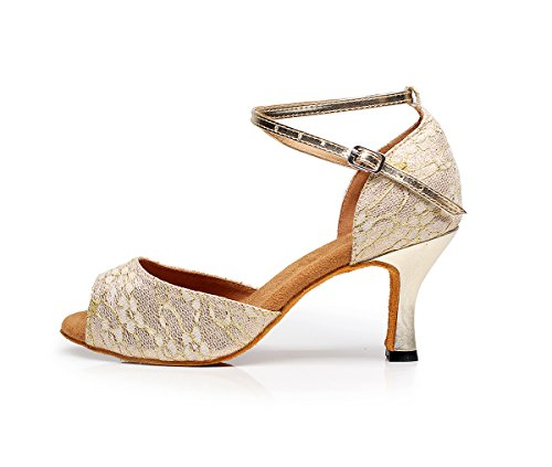 CFP 7124 Womens Practice Latin Tango Cha-cha Professional Dance Shoes Wedding Party Custom Heel Peep Toe PU Ankle Strap Gold 5UVSwr