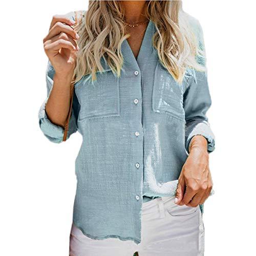 Longues Femmes Casual Tee Clair JackenLOVE Mode Shirts Manches Chemisiers Tops Hauts Automne Blouses Bleu Printemps Revers Chemises qgnEOEUwS