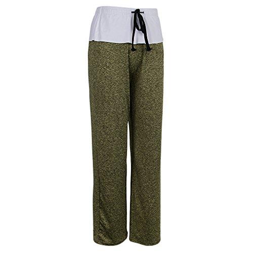 Ajuste Sueltos Mujer Cintura Palazzo Señoras Yoga Pantalones Alta Amarillo Anchos Magideal Cómodo qBYwzFB