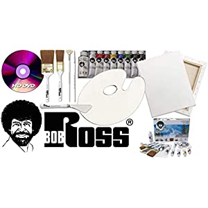 Bob Ross Painting Supplies 18 Piece Flagship Master Paint Set & DVD – The Joy of Painting Landscape Oil Kit with Canvas and Palette