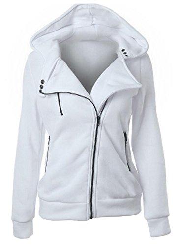 Giacca Cerniera Sweatshirt A Lunga Hoodie Cappuccio Bianca Con Manica Asimmetrica Felpa Chiusura Cappotto Donna wZ1q4Tx1