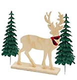 Christmas Holiday Rustic Wood Unfinished Lumberjack Woodlands Deer Cake Decoration Cake Topper