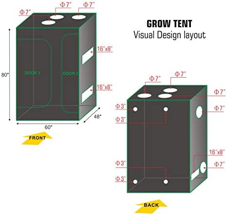 Hydro Plus Indoor Grow Kit 60 x48 x80 Grow Tent Kit 2-in-1 Indoor Plants Growing Dark Room Non Toxic Hut 60 x48 x80 Tent