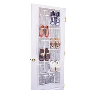 24 Clear Pocket- Home Novelties Over The Door Hanging Shoe Organizer (64'' X 19'')