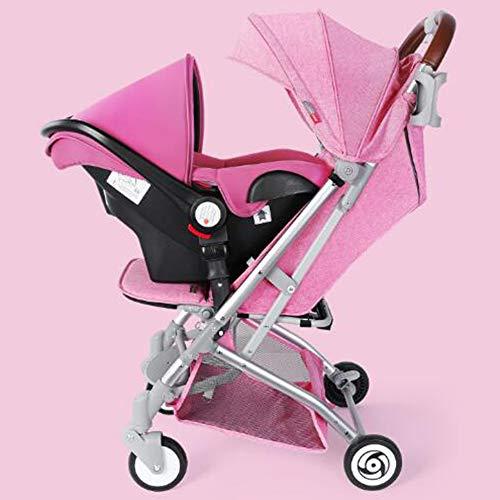 - High Landscape Elegant All-in-1 Stroller Folding Umbrella Stroller Car Seat Babies Sleeping Basket Aluminum Alloy Lightweight Stroller Waterproof Rain Wind Cover (Pink)