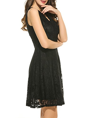 V Black Cocktail Lace Formal Floral Women Swing Neck Sleeveless s Vintage ACEVOG Deep Dress xzqfwg0OO