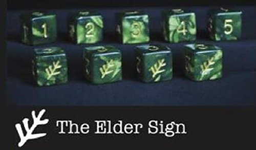 Elder Dice Tube of Green Lovecraft Elder Sign D6 Dice by Elder Dice
