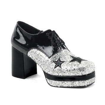 ktc Fancy Dress Saturday Night Fever Black Patent Retro 70s Disco Platform Shoes 8