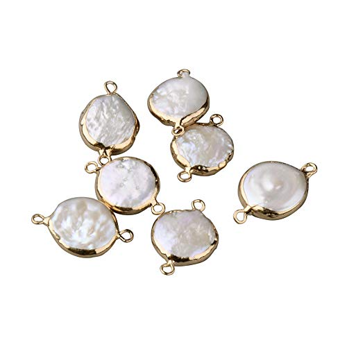 - Fashewelry 10 pcs Gold Plated Flat Round Natural Pearl Links Jewelry Connector for Jewelry Making Beads (Flat Round Pearl)