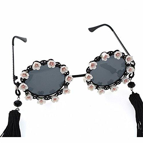 glands soleil la classique les soleil plates lunettes miroir baroque Élégance métal lunettes fleur polarisées soleil aux de lunettes de adapté mode de Lentilles pour de en de femmes et Blanc style loisirs vX11w