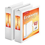 Cardinal Economy 3'' Round-Ring View Binders, 3-Ring Binder, Holds 625 Sheets, Nonstick Poly Material, PVC-Free, White, 2-Pack (79530)