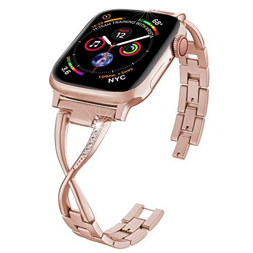 ImmSss Bling Metal Band Compatible for Apple Watch Band Series 4 40mm 44mm/ iWatch Series 3 2 1 38mm 42mm, Wristband Strap Cuff Bangle Bracelet (Silver, 42mm/44mm)