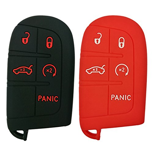 2Pcs Coolbestda Silicone Smart 5buttons Key Fob Skin Cover Case Protector Keyless Jacket Remote Bag for Jeep Grand Cherokee Dodge Challenger Charger Dart Durango Journey Chrysler (Dodge Charger Accessories)