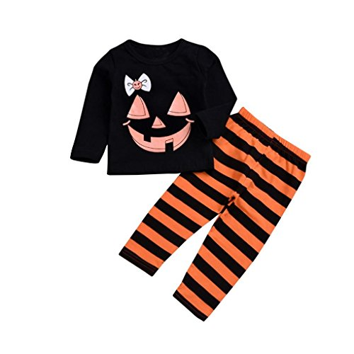 OWMEOT 2Pcs/Outfit Set Baby Boy Girl Infant My First Halloween Print Top Clothes + Striped Long Pants Set Outfit (Black, 110) by OWMEOT