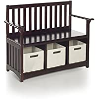 Guidecraft Classic Espresso - Dark Cherry Storage Bench with Bins - Home Kids Furniture