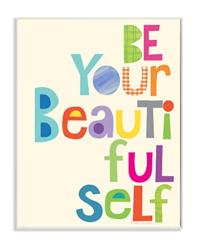 Stupell Home Décor Be Your Beautiful Self Patchwork Wall Plaque Art, 10 x 0.5 x 15, Proudly Made in USA