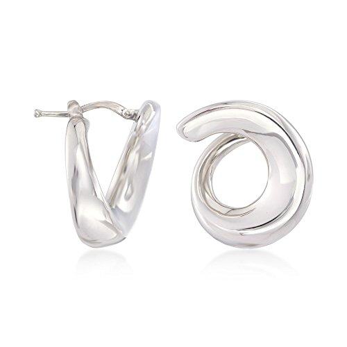 Ross-Simons Italian Sterling Silver Swirl Hoop Earrings