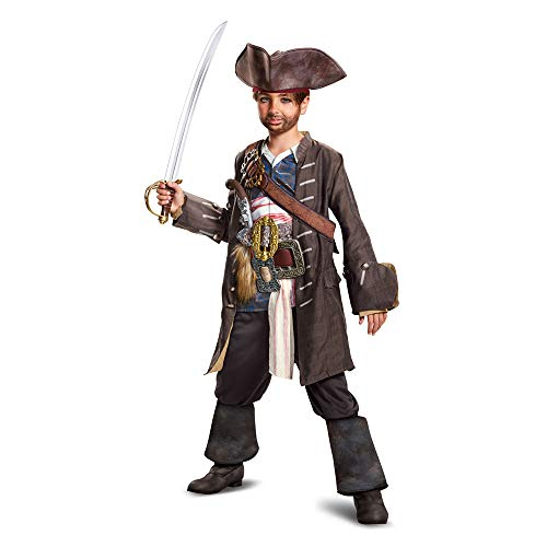 Disguise POTC5 Captain Jack Sparrow Prestige Costume,  Multicolor,  Medium (7-8)