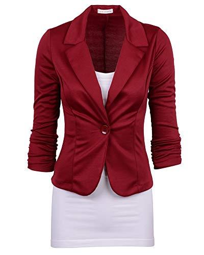 Femme lgant Blazer  Manches Longues Slim Fit Ajust Manteau Blouson Jacket Vin Rouge