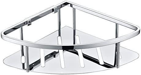 Kelica Rustproof Stainless Steel SUS 304 Triangular Bathroom Shower Caddy Storage Corner Basket Shelf Shelves Wall Mount Polished Chrome, Upgraded Version, Easy Installation