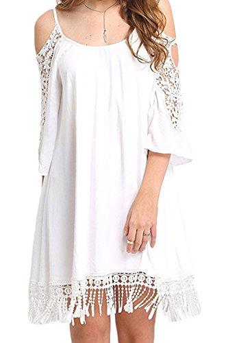 Jumojufol Donna T-Shirt Vestiti Casual In Pizzo Hollow Tassel Dividere I Vestiti White