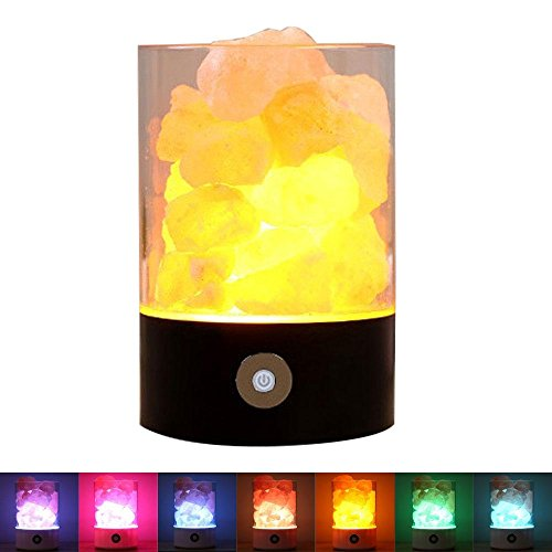 KOBWA Natural Himalayan Rock Salt Crystals Lamp USB Ionic Air Purifier with 7 Rainbow Colours Adjustable Light and Touch Dimmer Switch for Christmas Holidays Birthdays (Holiday Cubicle Decorations)