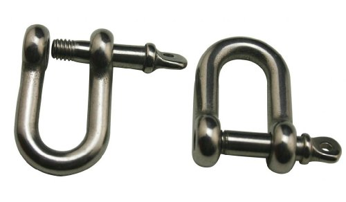 Generic 304 Stainless Steel Shackle Standard Size M5 Screw Pin D Anchor Shackle D Ring Rigging Hardware(Pack Of 8)