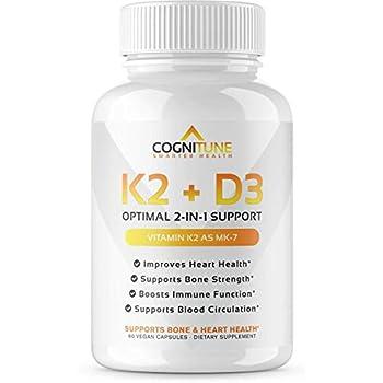 ... with D3 Supplement - Premium Natural Heart & Bone Health Softgels - Pure D3 Plus K2 Complex with 5000 IU of Vitamin D 3 & 90 mcg of Vitamin K 2-60 Count