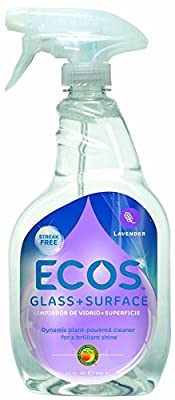 Ecos Lavender Glass + Surface Cleaner Spray, 22 Fl Oz