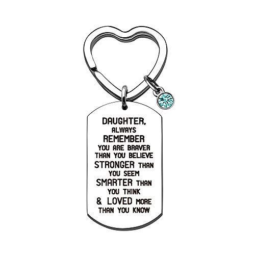KENYG Inspirational Jewelry Stainless Steel Dog Tag Key Ring Key Chain Key Fob for Daughter Always Remember You are Braver Than You Believe