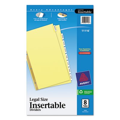 WorkSaver Insertable Tab Index Dividers, 8-Tab, Legal, Clear, 8/Set, Total 36 ST, Sold as 1 Carton by Avery