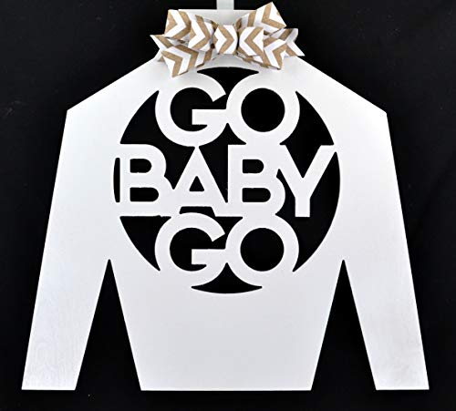 Kentucky Derby Jockey Silks - Kentucky Derby Jockey Silk | Go Baby Go Door Hanger | White Burlap Chevron | MANY COLORS