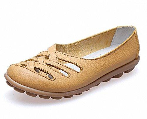 Vrouwen Instappers, Dames Casual Uitgesneden Lederen Platte Schoenen Mocassinsandalen Aardachtig Geel