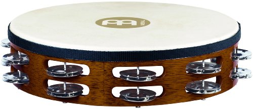 Meinl Percussion TAH2AB Traditional 10-Inch Wood Tambourine with Goat Skin Head and Steel Jingles, 2 ()