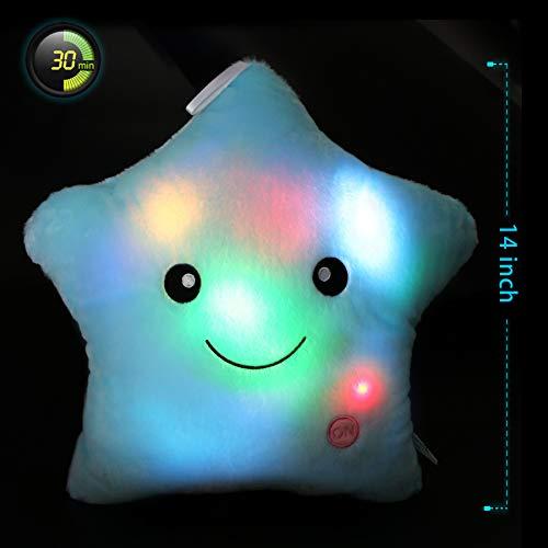WEWILL Creative Twinkle Star Glowing LED Night Light Plush Pillows Stuffed Toys (Blue)