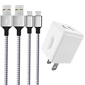 Wall Charger, Canyso 2.1A Dual Port USB Wall Charger Universal Power Adapter With 2-Pack 6ft Micro USB Cable Android Charger Cord For Samsung Galaxy S6/S7/Edge, HUAWEI,LG, HTC, Moto and More