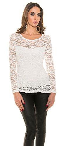 KouCla - Camiseta de manga larga - Básico - Cuello redondo - para mujer blanco