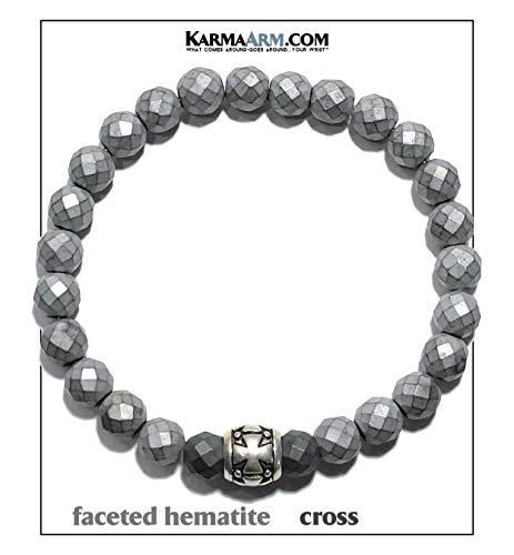 (RECHARGE | Cross Wristband Bracelet | Spiritual Jewelry | Self-Care Yoga Reiki Healing Energy Bead Zen Mantra Meditation Mala | Hematite )