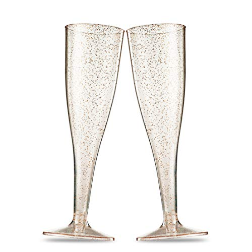 (50 Gold Glitter Plastic Champagne Flutes 5 Oz Clear Plastic Toasting Glasses Disposable Wedding Party Cocktail Cups)