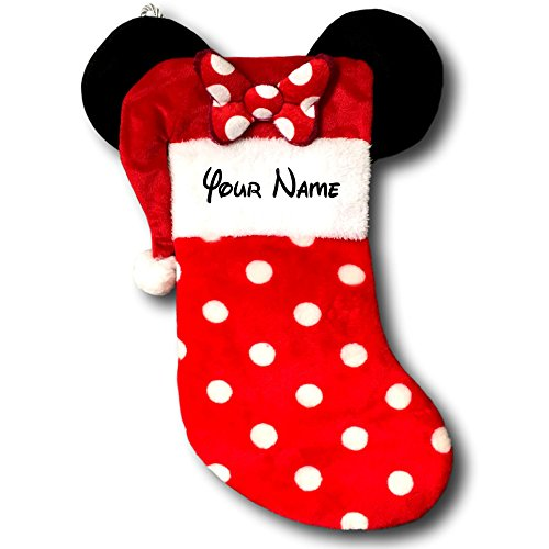Kurt Adler Personalized Disney Minnie Mouse Christmas Stocking with Ears - 19 Inches
