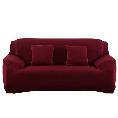 Monba Funda para sofá 1, 2, 3, 4 plazas, color puro, antideslizante, fácil de estirar, elástica, funda protectora para sillones, poliéster, rojo vino, ...