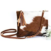 Cowhide Crossbody - Leather Crossbody with Fur - Brown & White Hair on Hide Bag